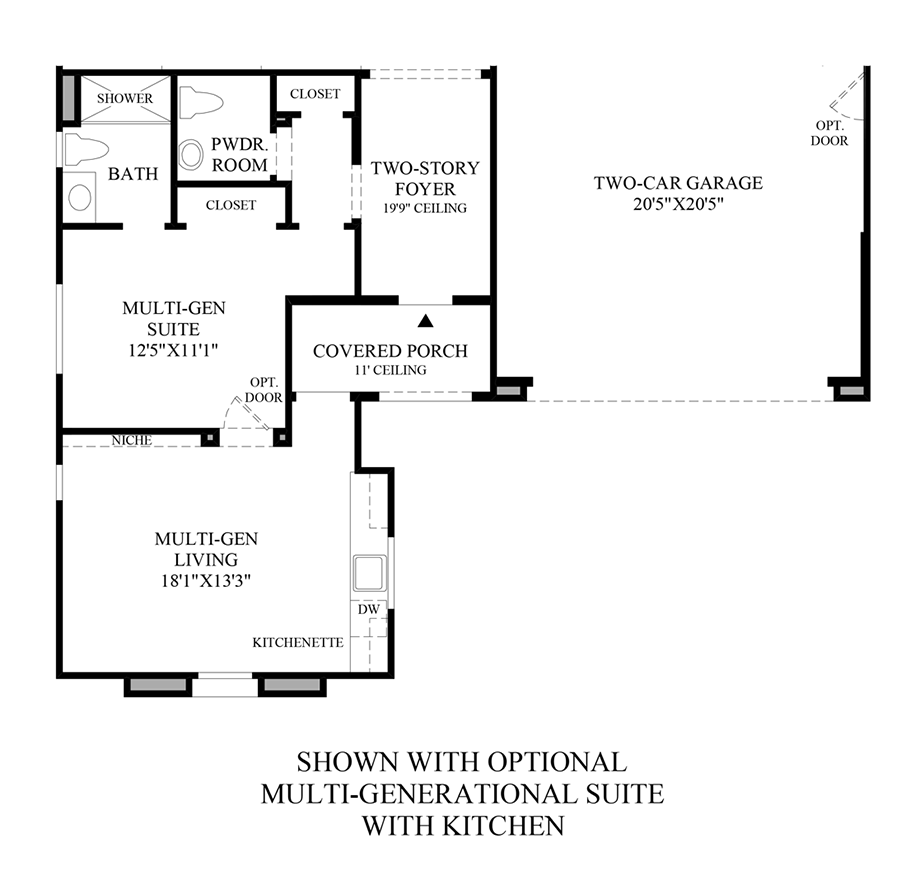 Optional Multi-Generational Suite w/ Kitchen Floor Plan