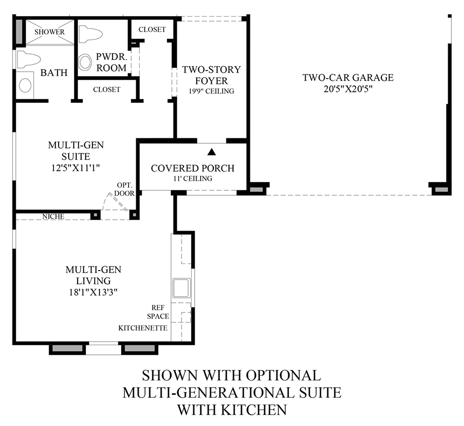 Optional Multi-Generational Suite w/ Kitchen Floor Plan