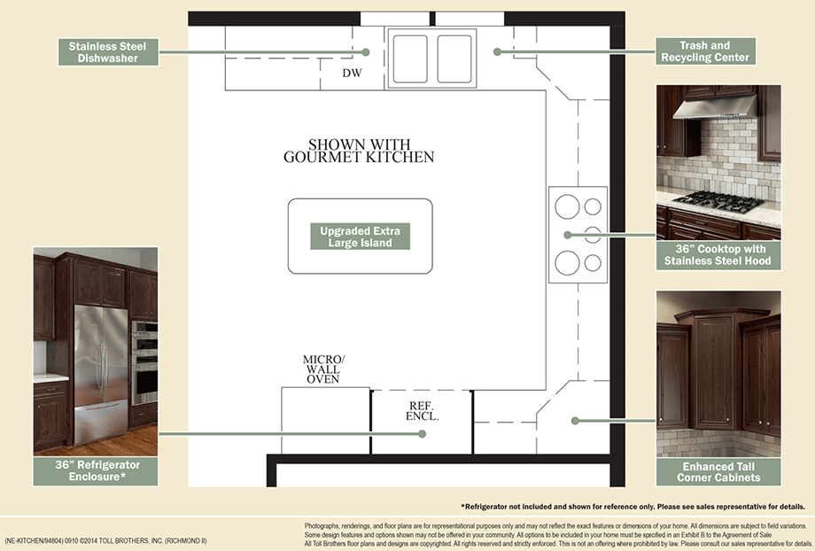 Outstanding Kitchen Features Floor Plan : rmndII kitchen redesign slipsheet920 from www.tollbrothers.com size 920 x 622 png 96kB