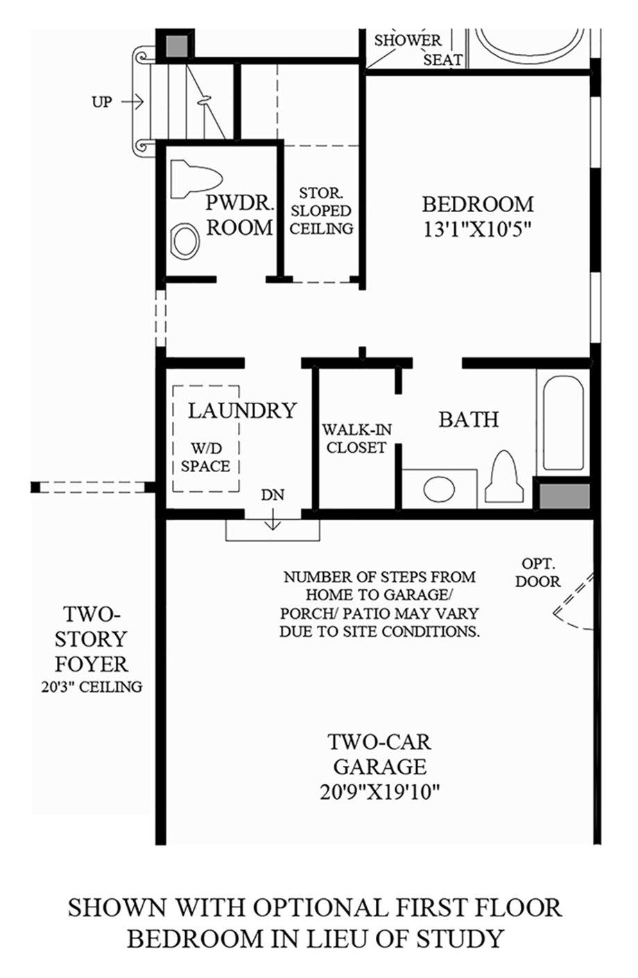 Optional First Floor Bedroom In Lieu of Study Floor Plan