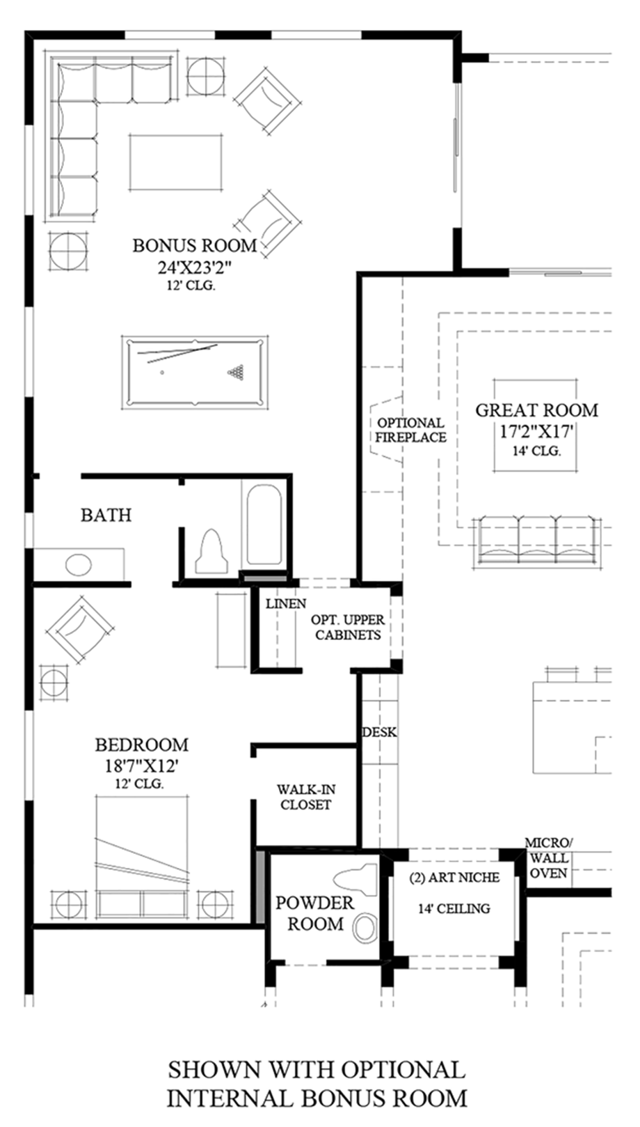 Optional Internal Bonus Room Floor Plan