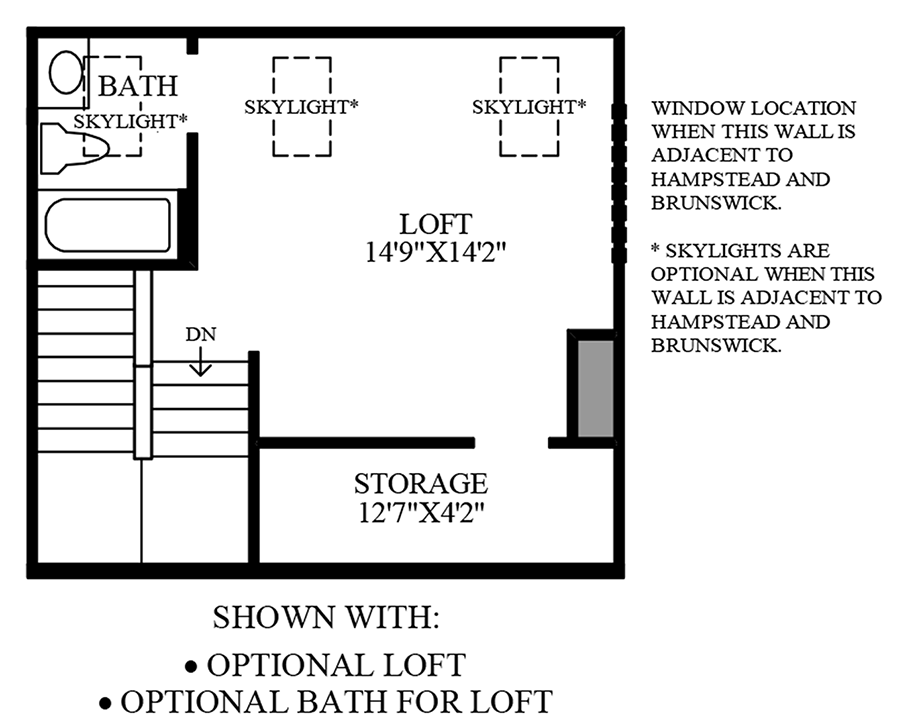 Optional Loft and Optional Bath for Loft Floor Plan