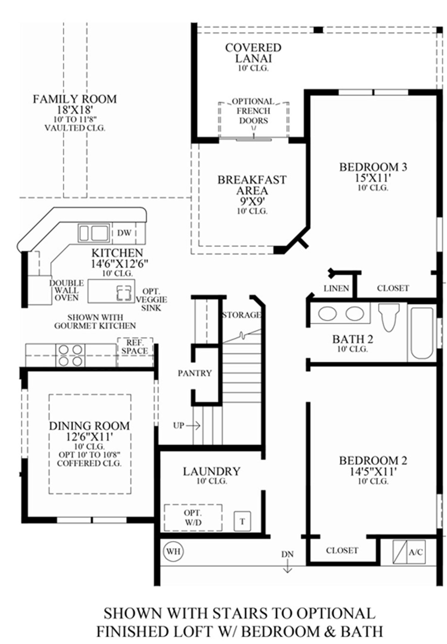 Optional Stairs To Finished Loft W Bedroom Amp Bath Floor Plan