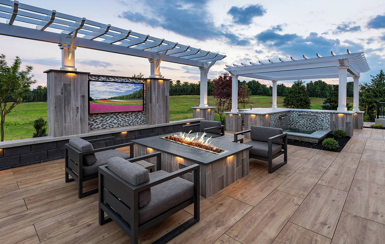 Outdoor fire pit is perfect for cool evenings