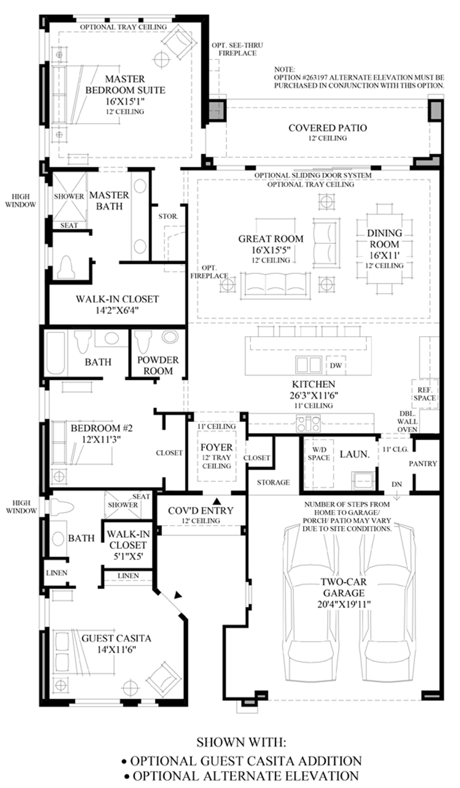 Optional Guest Casita Addition & Alternate Elevation Floor Plan