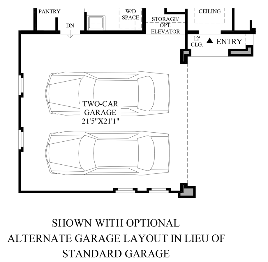 Optional Alternate Garage Layout Floor Plan