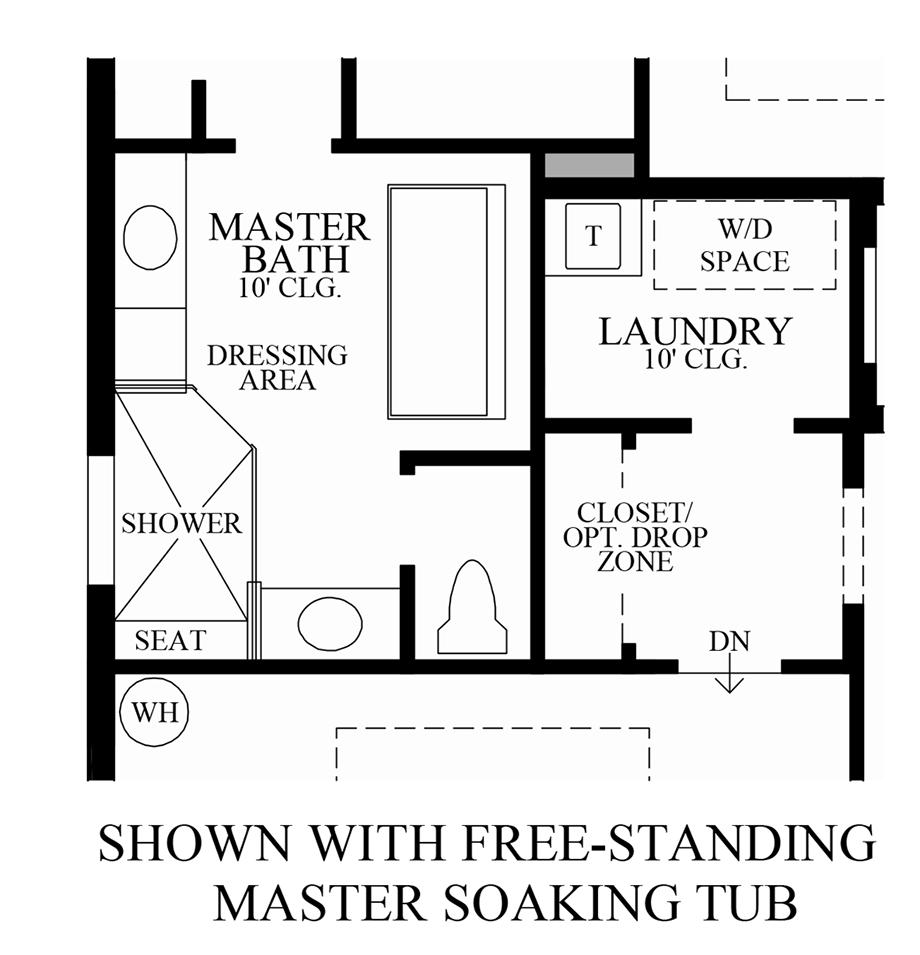 Optional Free-Standing Master Soaking Tub Floor Plan