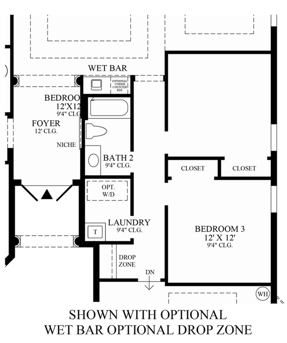 Optional Wet Bar & Drop Zone Floor Plan