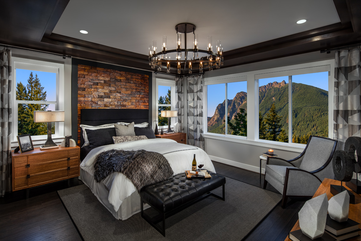 Primary bedroom suite with tray ceiling detail