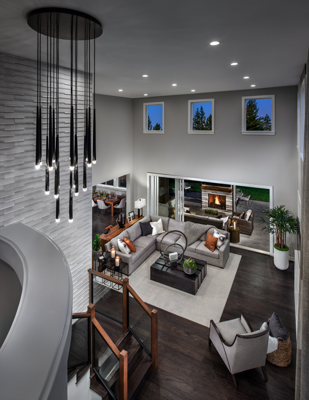 Soaring two-story ceiling floods the Great Room with light