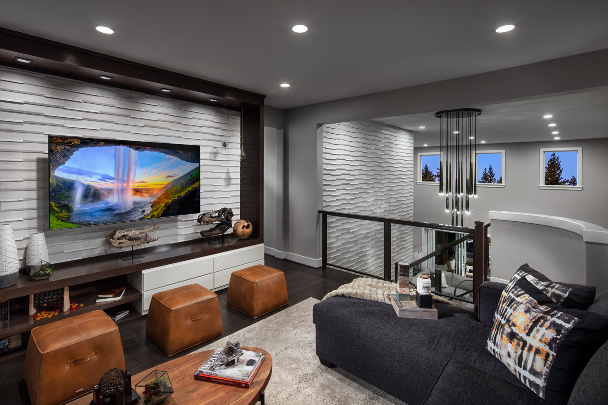 Upper loft provides an additional gathering space