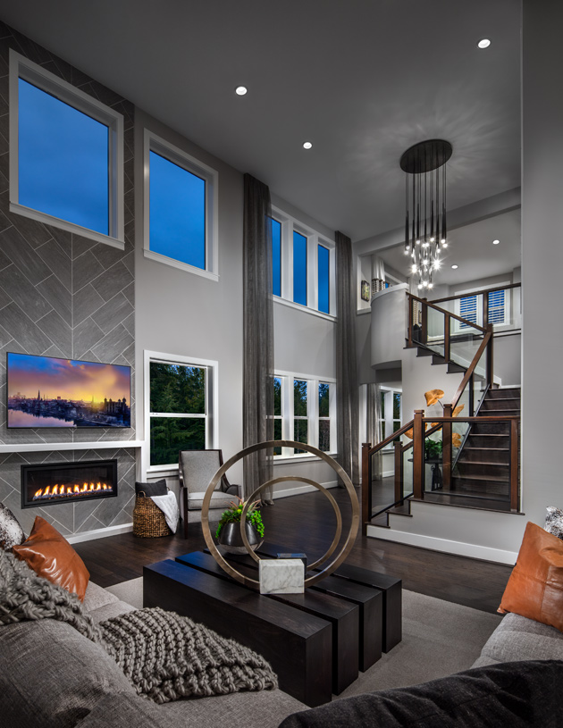 Entry foyer opens to the dramatic great room