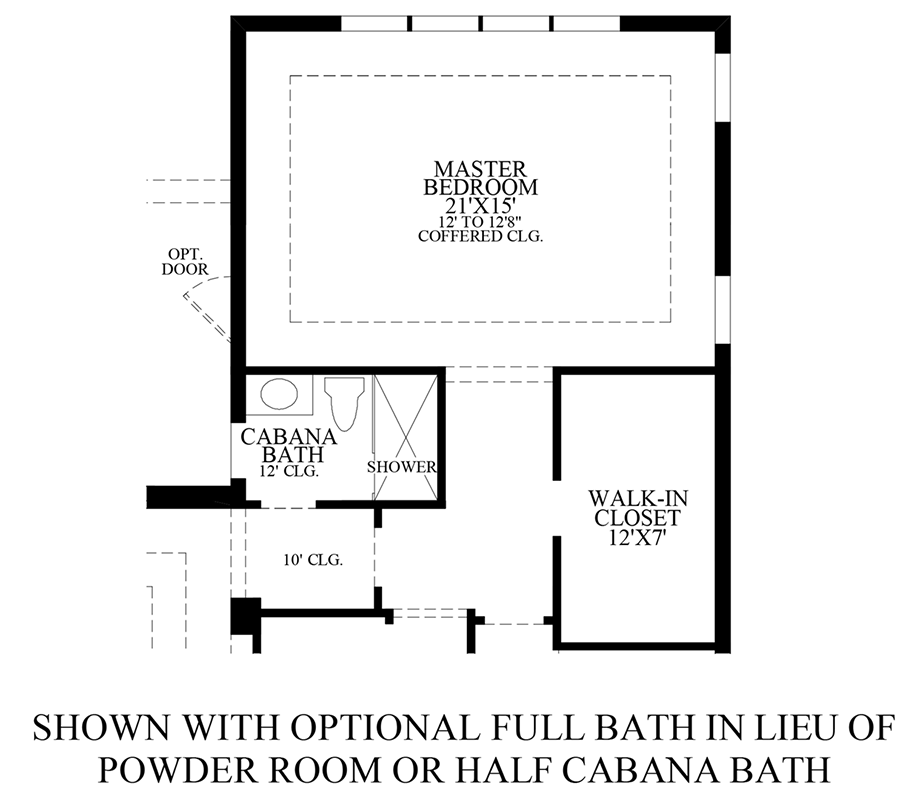 Optional Full Bath ILO Powder Room or Half Cabana Bath Floor Plan