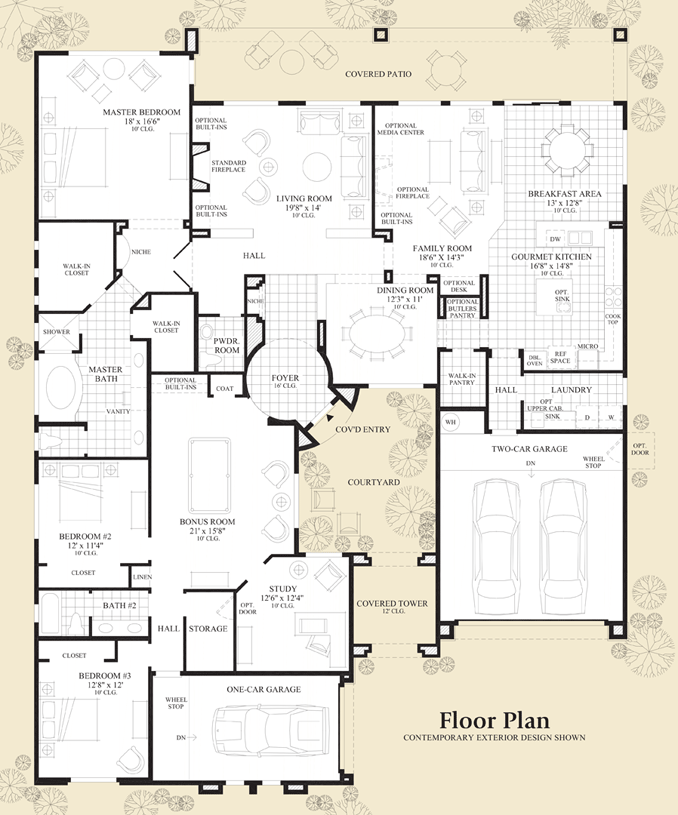 5 bedroom floor plans one story 1