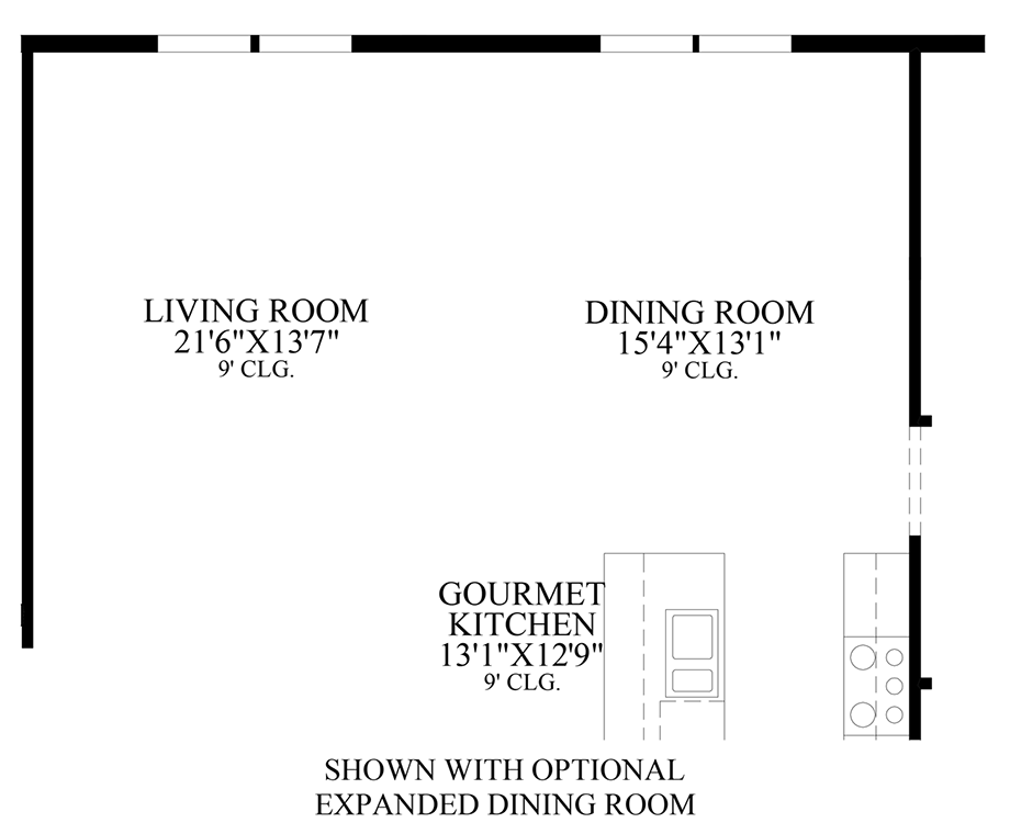 Optional Expanded Dining Room Floor Plan