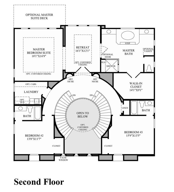 Pics for double staircase floor plans for Dual staircase house plans