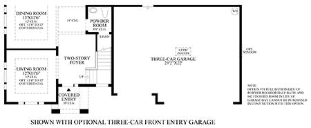 Optional 3-Car Front Entry Garage