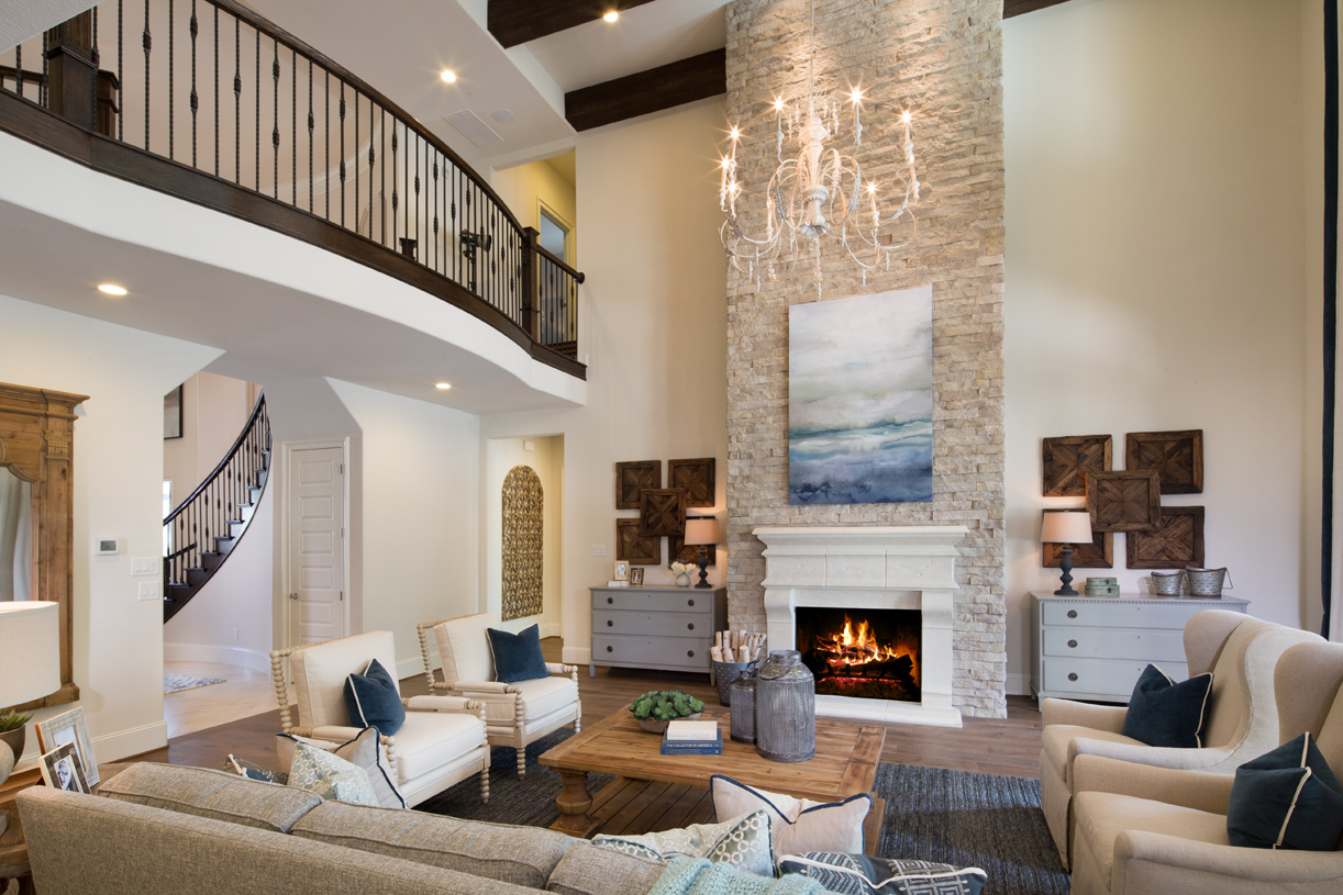 Elegant two-story great room with fireplace