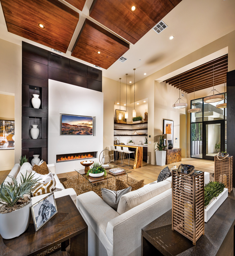 Gorgeous great room with fireplace and bar