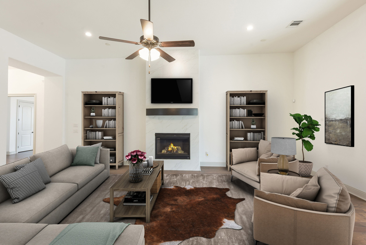 Great room with radiant fireplace