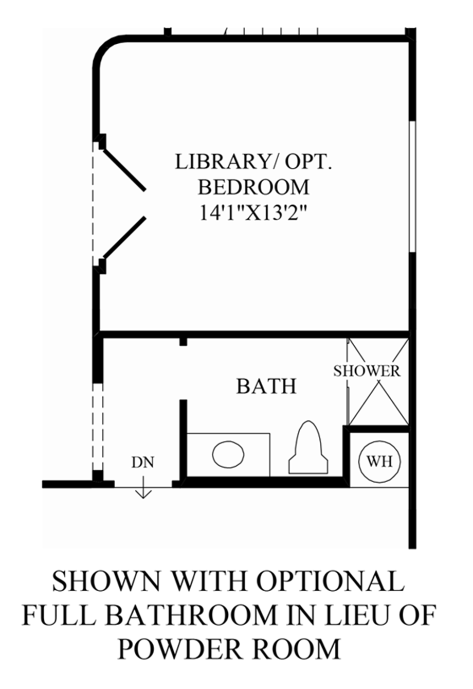 Optional Full Bathroom ILO Powder Room Floor Plan