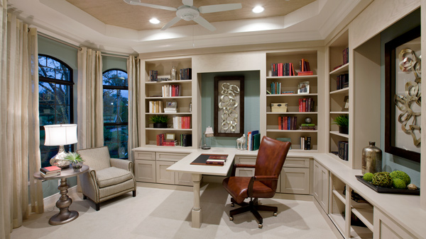 Study with built-in cabinetry and shelves