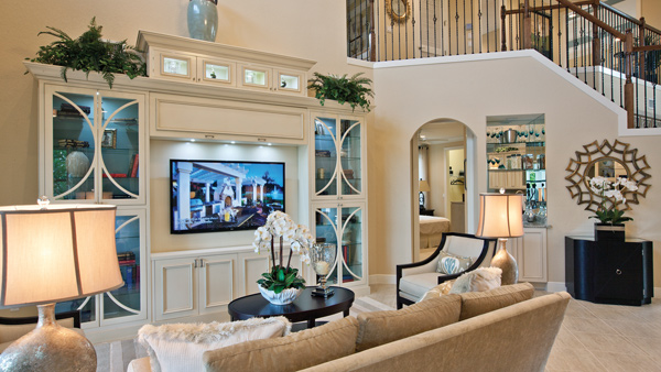 Two-story great room with built-in entertainment center