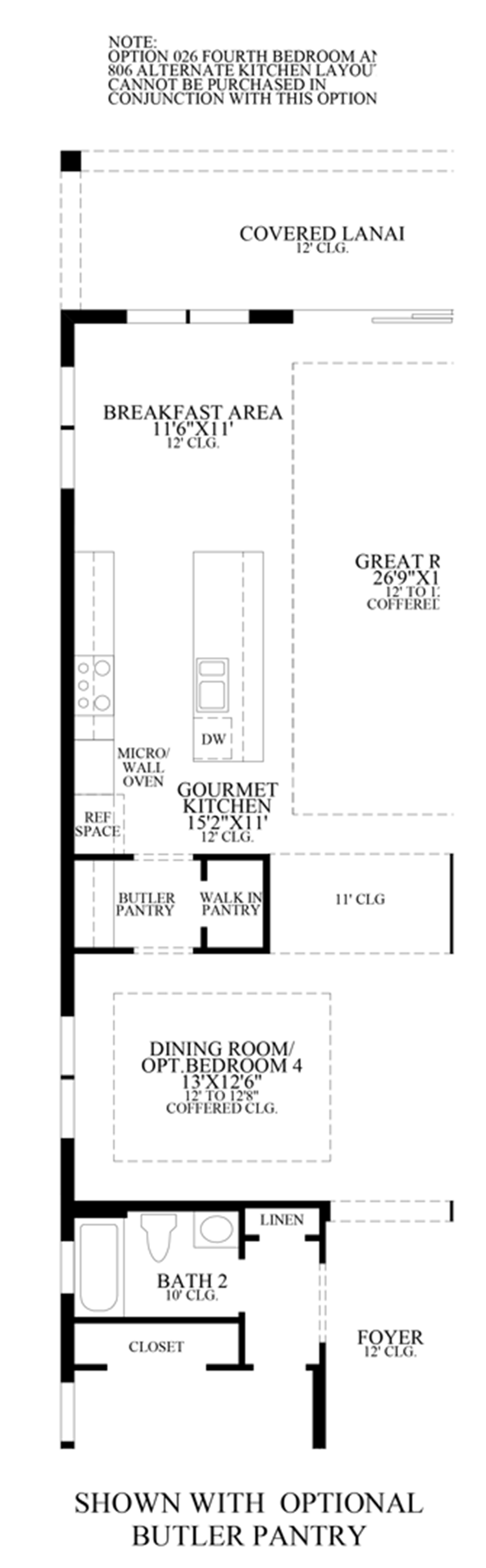 Optional Butler Pantry Floor Plan