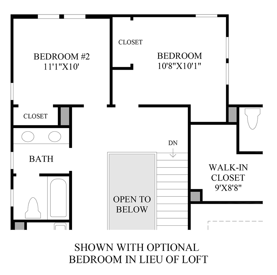 Optional Bedroom In Lieu Of Loft Floor Plan