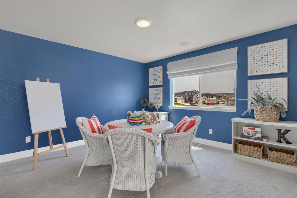 Convenient upper-level loft, perfect for a homework area or at-home office space
