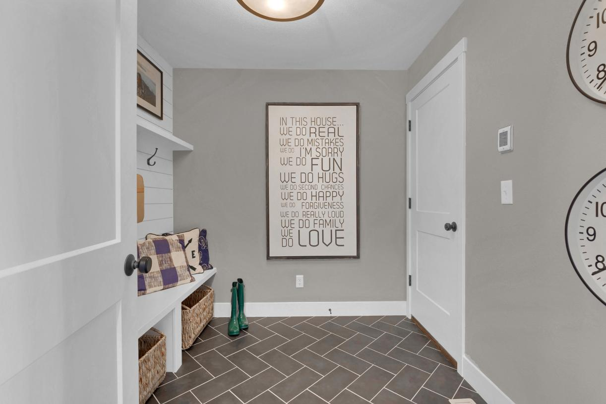 Stay organized with an everyday entry that allows you to drop your bags coming in from the garage