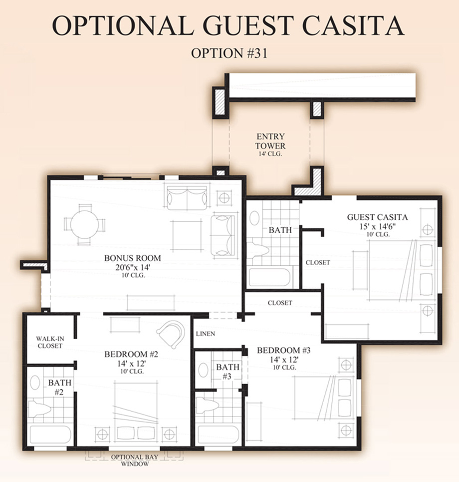 Optional guest casita floor plan for Casita plans for homes