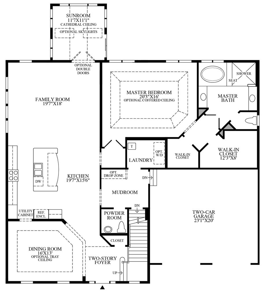 Optional Alternate Kitchen/Dining Room with Sunroom Floor Plan