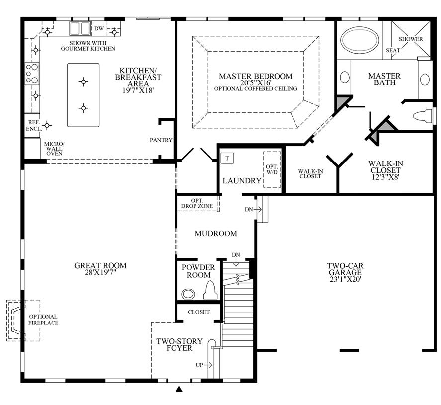 Lenah mill the villages the parker home design for Gourmet kitchen floor plans