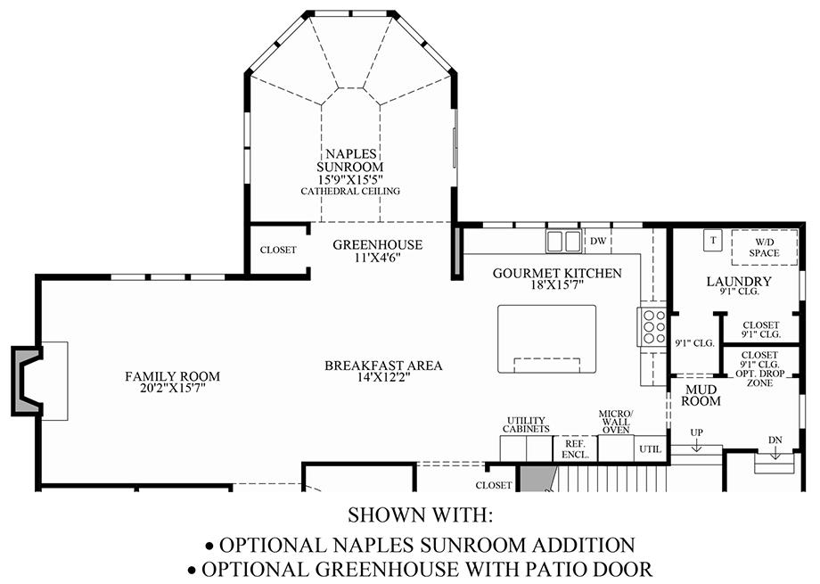 Optional Naples Sunroom Addition/Greenhouse Floor Plan
