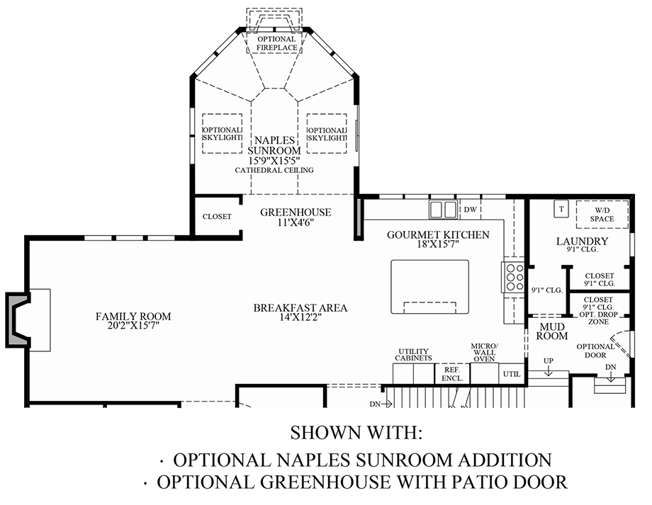 Optional Naples Sunroom Addition & Greenhouse w/ Patio Door Floor Plan