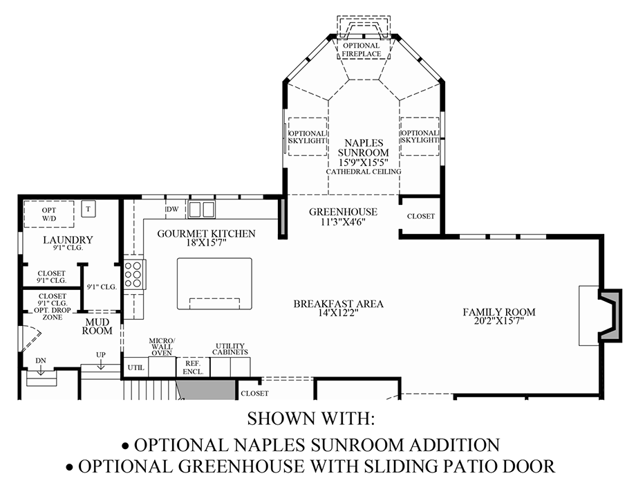 Optional Naples Sunroom Addition & Greenhouse w/ Sliding Patio Door Floor Plan