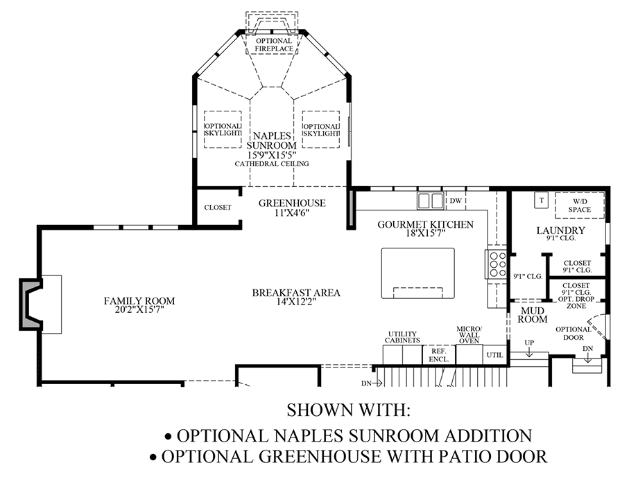 Optional Naples Sunroom Addition & Greenhouse w/Patio Door Floor Plan