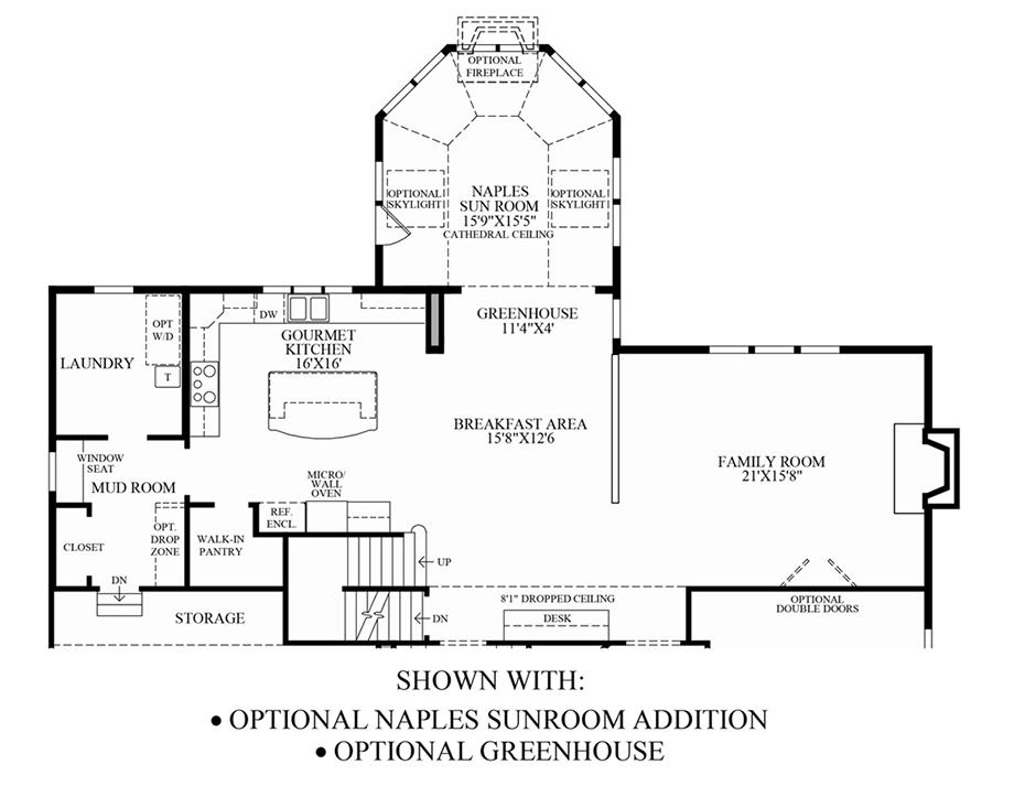 Optional naples sunroom addition greenhouse floor plan for Sunroom addition floor plans