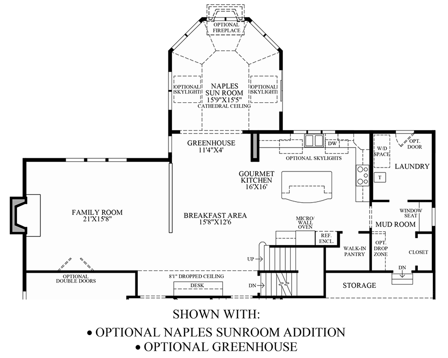 Optional Naples Sunroom Addition & Greenhouse Floor Plan