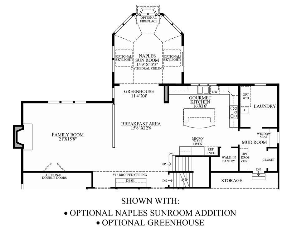 Optional Naples Sun Room Addition & Greenhouse Floor Plan
