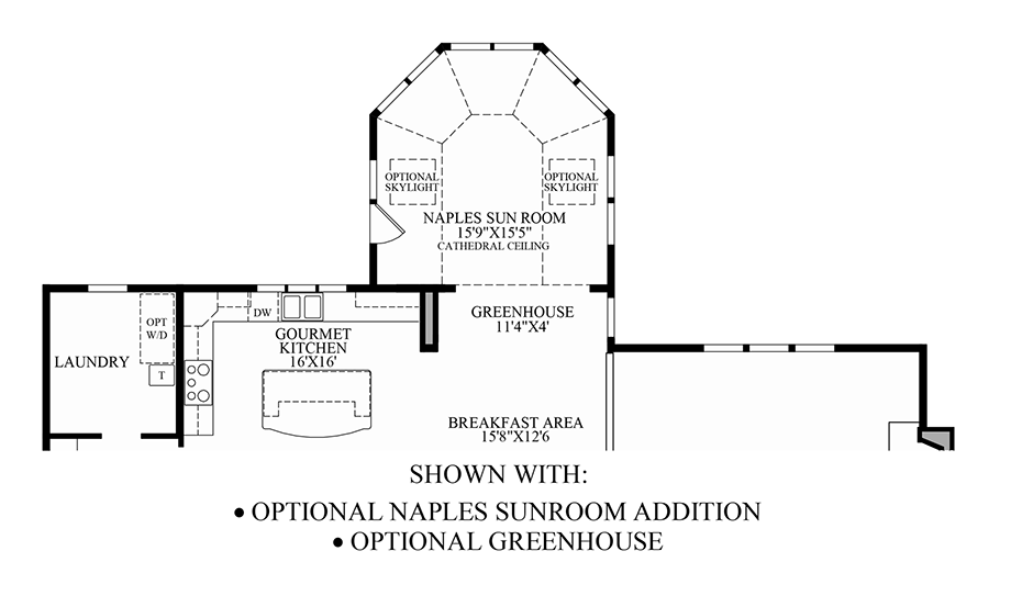 Optional Naples Sunroom Addition/Greenhouse Floor Plan
