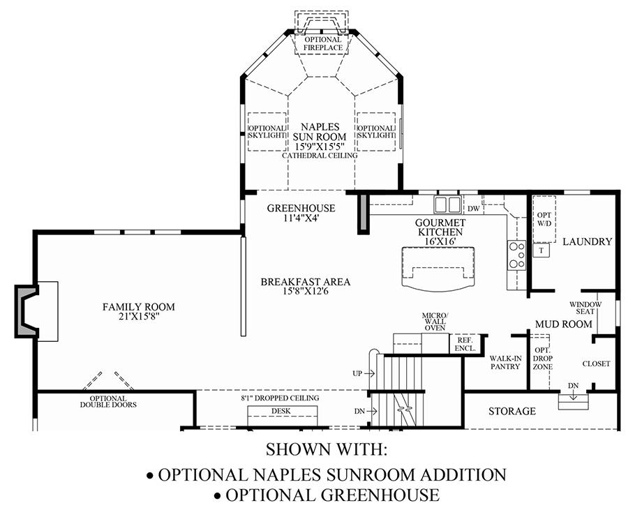 Optional Naples Sunroom Addition/Optional Greenhouse Floor Plan