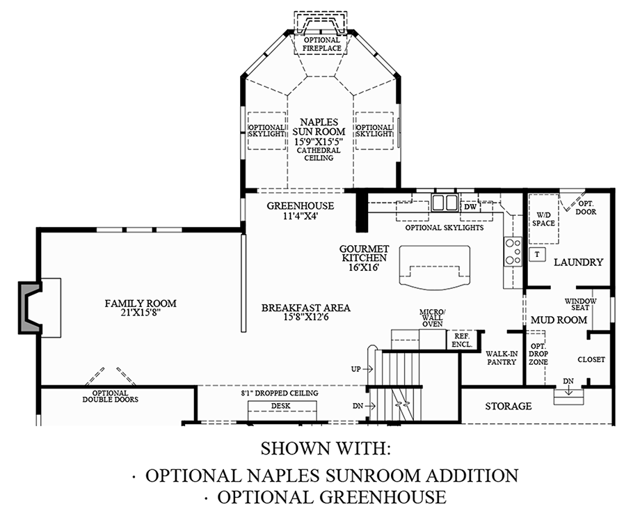 Optional Naples Sunroom Addition and Greenhouse Floor Plan