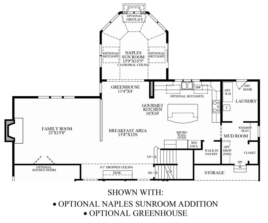 Optional Naples Sunroom Addition & Greenhouse Floor Plan