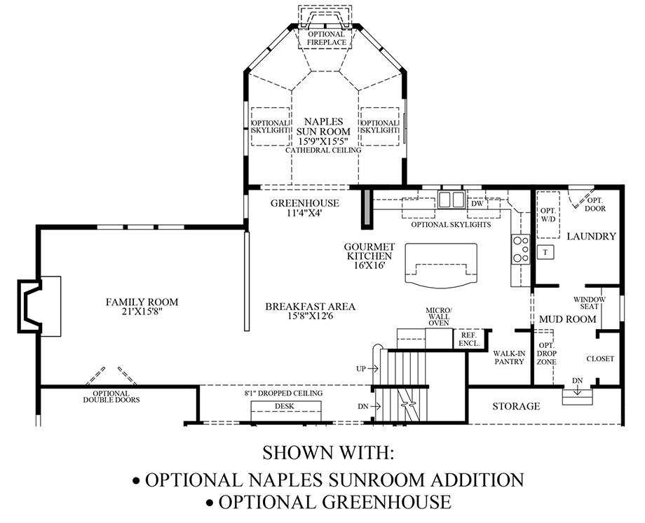 Optional Naples Sunroom & Greenhouse Floor Plan