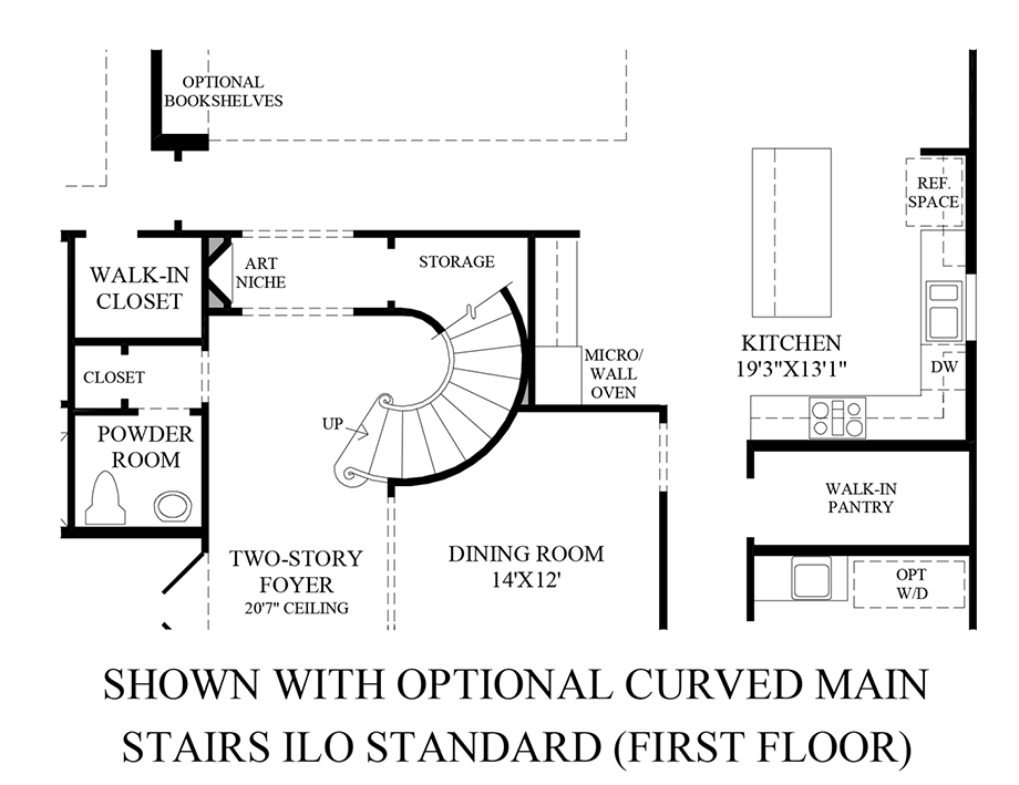 Optional Curved Main Stairs ILO Standard - 1st Floor Floor Plan