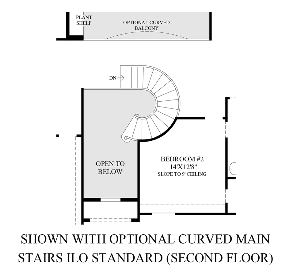 Optional Curved Main Stairs ILO Standard - 2nd Floor Floor Plan