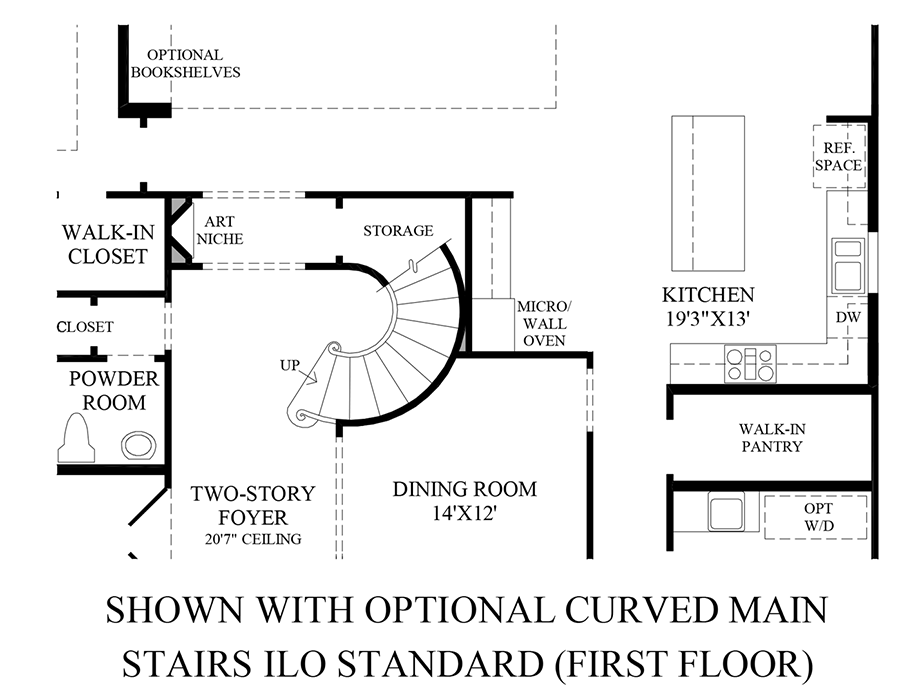 Optional Curved Main Stairs (1st Floor) Floor Plan