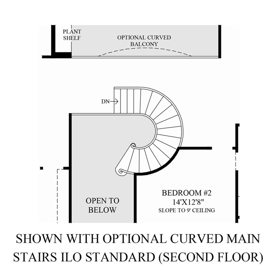 Preserve at flower mound the stonebridge home design for Curved staircase floor plans
